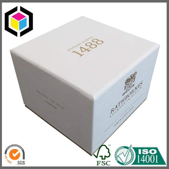 Gold Hot Foil Logo White Rigid Cardboard Paper Gift Box China