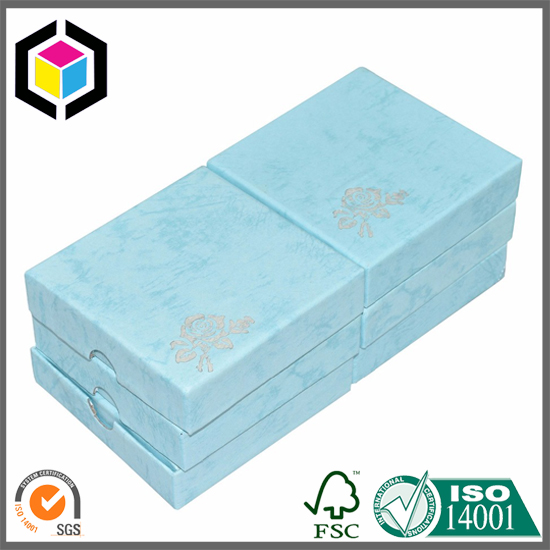 Silver Hot Stamping Light Blue Jewellery Gift Box Shanghai