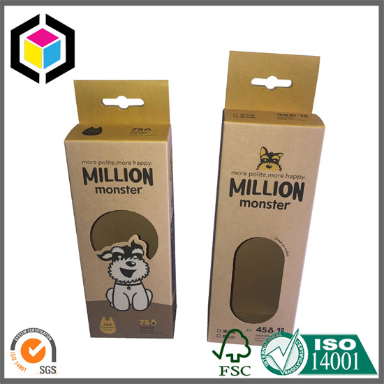 Clear Window Color Print Packaging Paper Box with Hang Tab