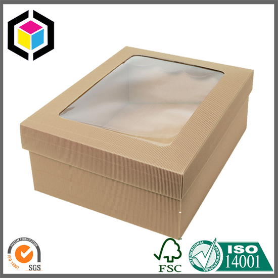 Corrugated Plastic Windows : Clear plastic window hamper corrugated box