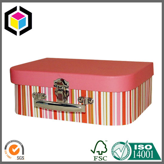 Color Print Cardboard Suitcase Box with Lock Handle