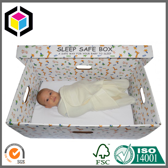 Corrugated Material Safe Sleep Baby Box with Detachable Lid