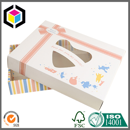 Four Edge Fold Flap Clear Window Cardboard Carton Box