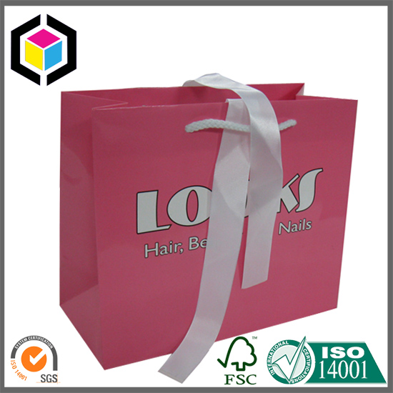 Glossy Color Print Satin Handle Cosmetics Gift Paper Bag