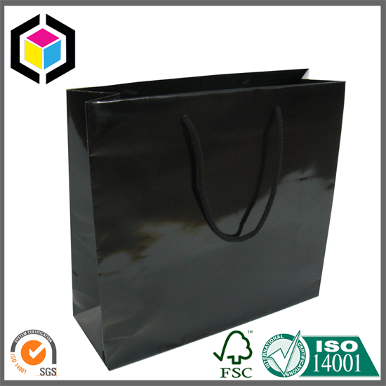 Glossy Solid Color Black Shopping Paper Bag for Promotion