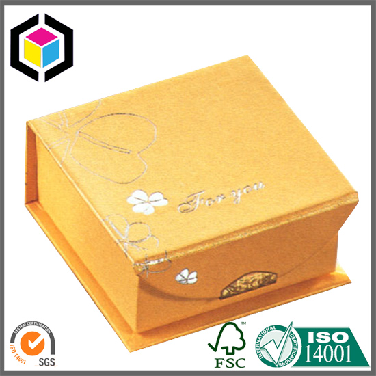 Luxury Yellow Silver Logo Rigid Paper Gift Box for Jewelry