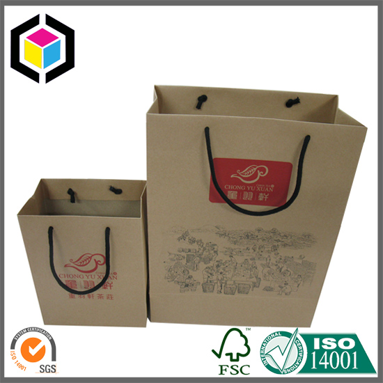 Cotton Handle Brown Kraft Paper Shopping Bag for Garment