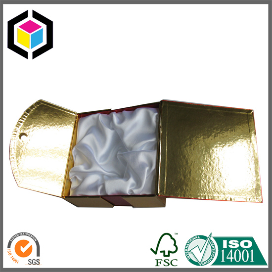 Satin Foam Insert Rigid Gold Color Paper Gift Packaging Box