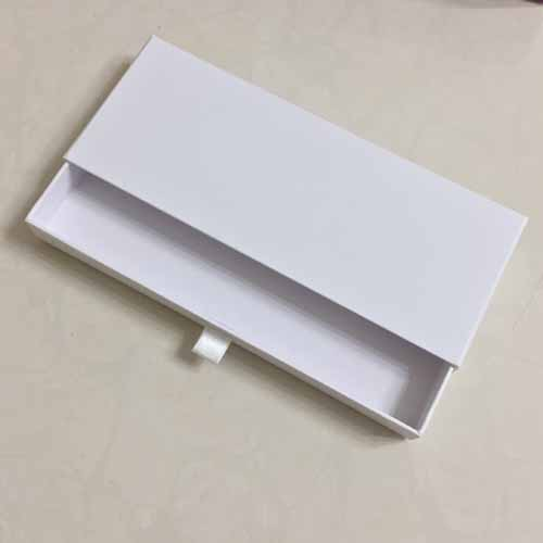 Custom Made Rigid Sliding Gift Paper Box with Ribbon Pull