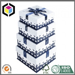 Rigid Cardboard Paper Gift Packaging Box with Ribbon Ties