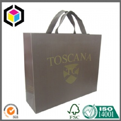 Gold Logo Color Print Luxury Paper Shopping Bag for Garment with Handle