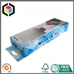 Hang Tab Color Print Paper Box with Plastic Window