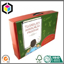 Full Color Print Corrugated Carrying Box with Plastic Handle