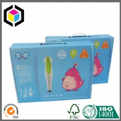 Custom Color Paper Cardboard Suitcase Box with Plastic Handle