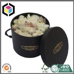 Black Color Round Shape Fresh Flower Cardboard Gift Box with Lid